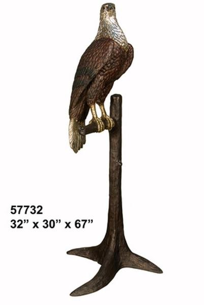 Bronze Falcon in Tree Statue