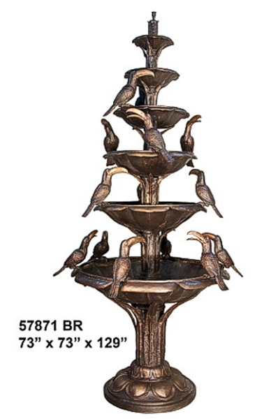 Bronze 5 Tier 6 Bowl Birds Fountain - AF 57871 BR