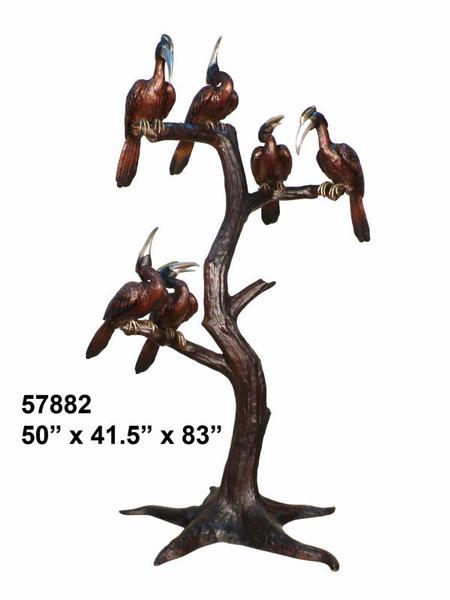 Bronze Birds in Tree Statue - AF 57882