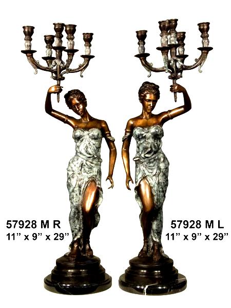 Bronze Ladies Candelabra or Torchiere Lighting - AF 57928M BG