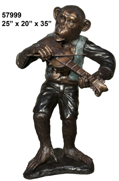 Bronze Monkey & Fiddle Statue - AF 57999