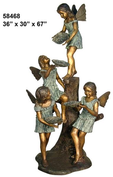 Bronze Girls Angel Statue - AF 58468