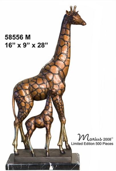 Bronze Giraffe & Calf Statues - AF 58556M_J