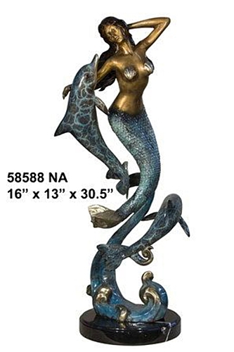 Bronze Mermaid & Dolphin Statue - AF 58588NA