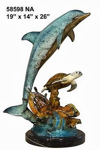 Bronze Jumping Dolphin Statue - AF 58598NA