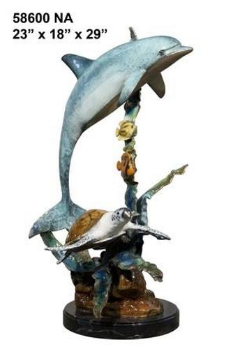 Bronze Dolphin Statue - AF 58600 NA