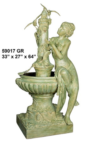 Bronze Lady & Bird Fountain - AF 59017GR