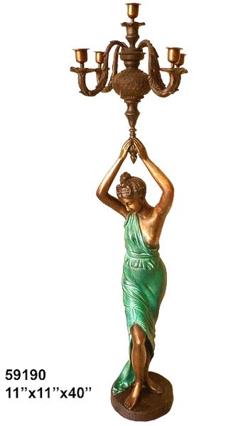 Bronze Lady Torchiere Lighting - AF 59190