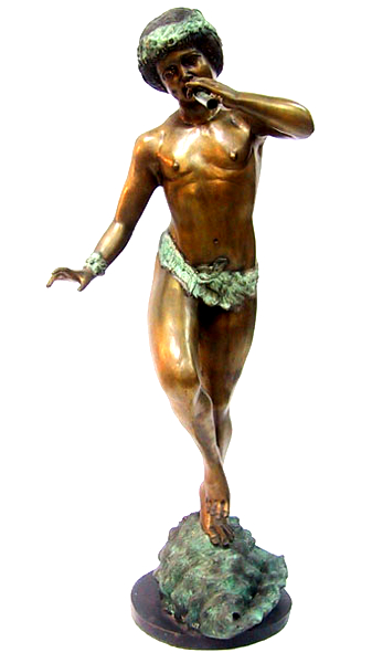 Bronze Boy Blowing Flute Statue - DD 6010S