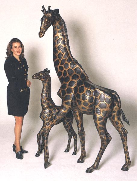 Bronze Giraffe, Calf Statues - ASB 641