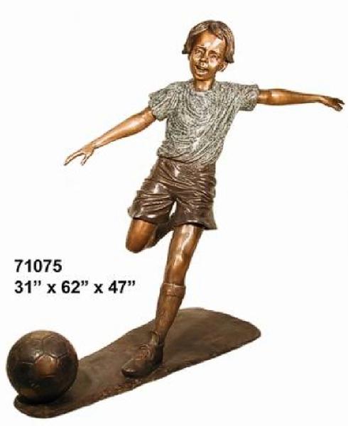 Bronze Boy Soccer Player Statue - AF 71075