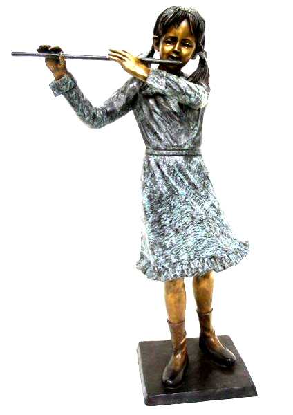 Bronze Girl Playing Flute Statue - AF 74050
