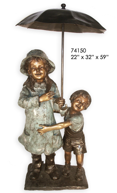 Bronze Kids Umbrella Statue - AF 74150-1