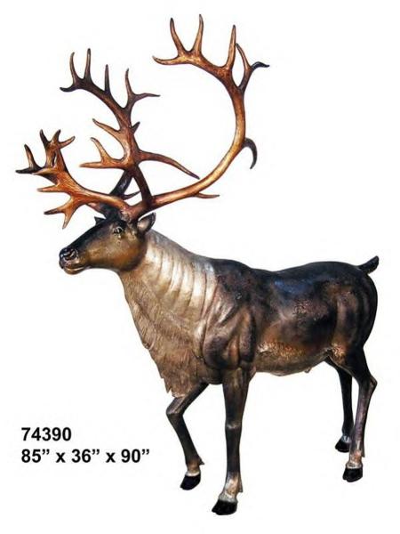Bronze Caribou Reindeer Statue - AF 74390