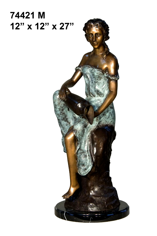 Bronze Lady with Urn Statue - AF 74421M