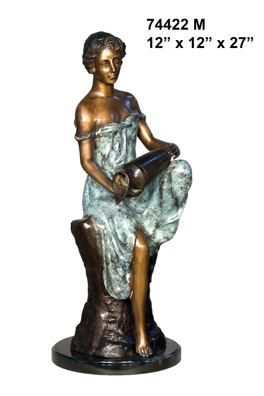 Bronze Lady with Urn Statue - AF 74422M