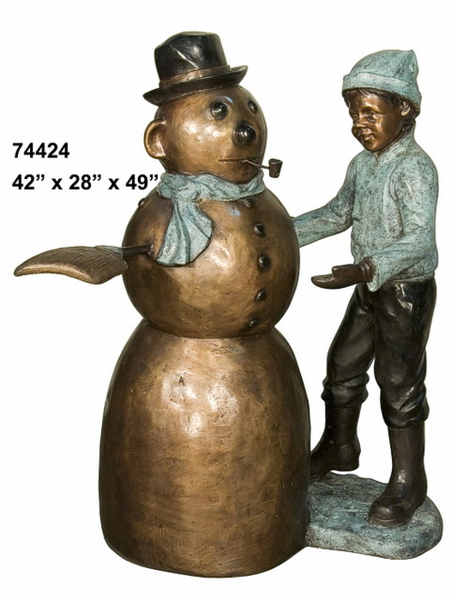 Bronze Boy & Snowman Statue - AF 74424