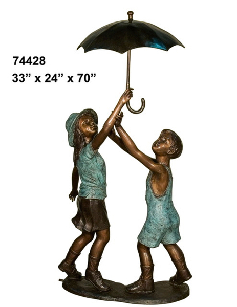 Bronze Kids Umbrella Statue - AF 74428-1