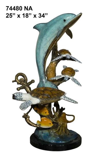 Bronze Dolphin Statue - AF 74480NA