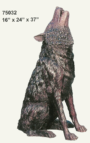 Bronze Howling Wolf Statue - AF 75032