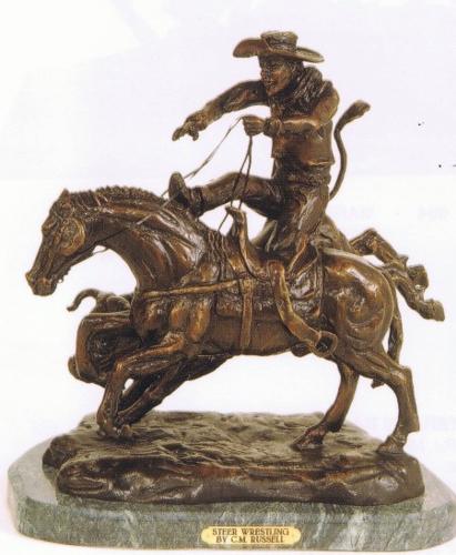 Bronze Steer Wrestling Statue - ASB 757