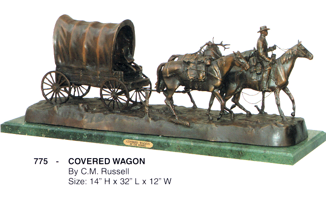 Bronze Covered Wagon Statues - ASB 775