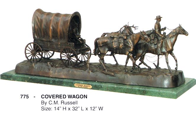 Bronze Covered Wagon Statue - ASB 775