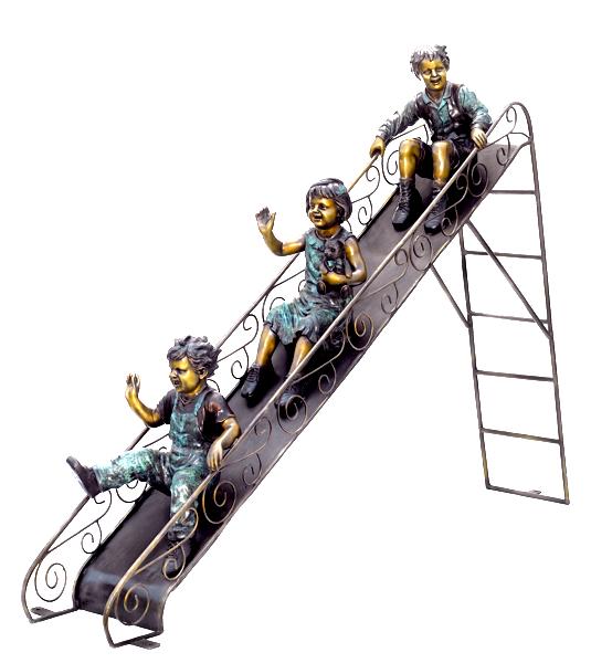 Bronze Children on Slide Statue - ASB 795M