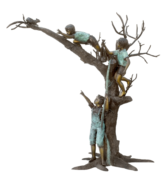 Bronze Kids in Tree & Squirrel Statue - ASB 798
