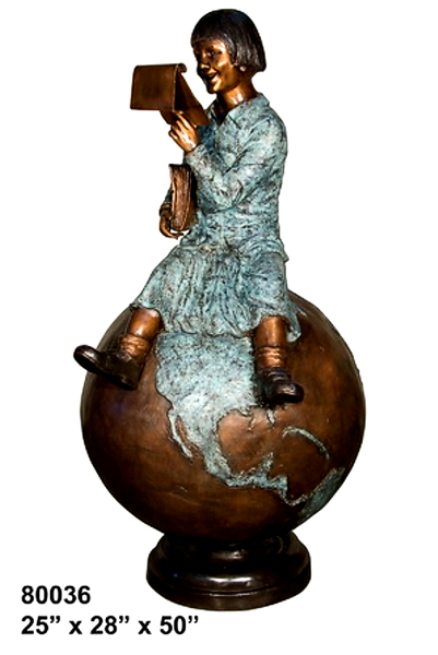 Bronze Girl Reading on Globe Satue - AF 80036