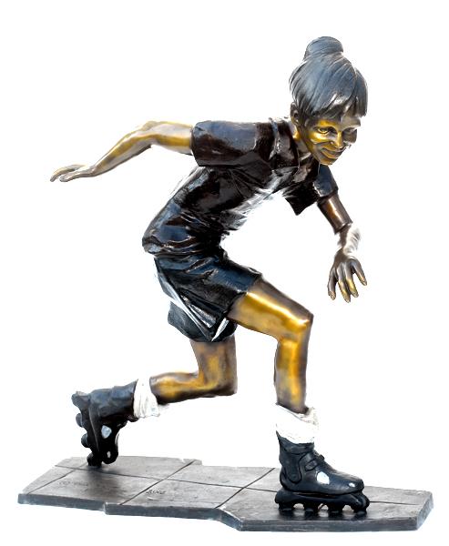 Bronze Girl Roller Skateing Statue - ASB 807