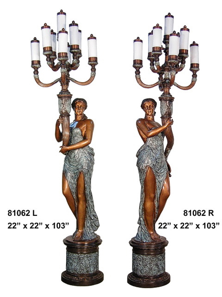 Bronze Ladies Torchiere Lamps - AF 81062