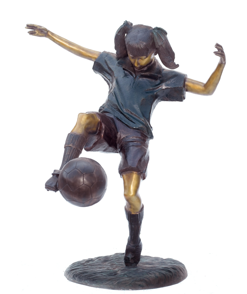 Bronze Girl Soccer Player Statue - ASB 811