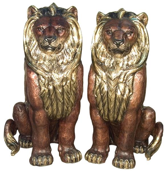Bronze Lion Statues - AF 81177-78
