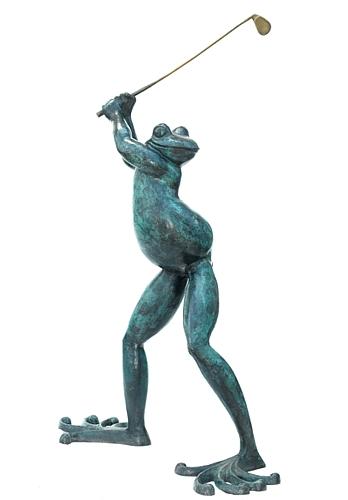 Bronze Frog Golfer Statue - ASB 825