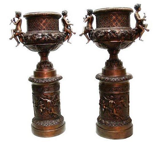 Bronze Cupid Urns - AF 83019