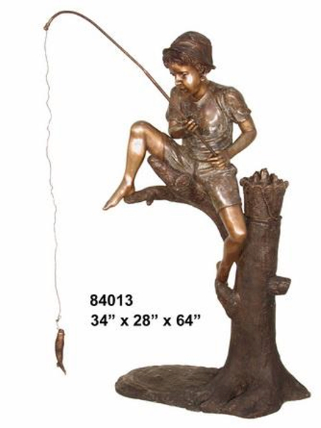 Bronze Boy Fishing Statue - AF 84013