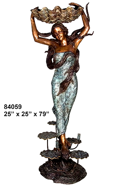 Bronze Lady Shell Statue - AF 84059-1