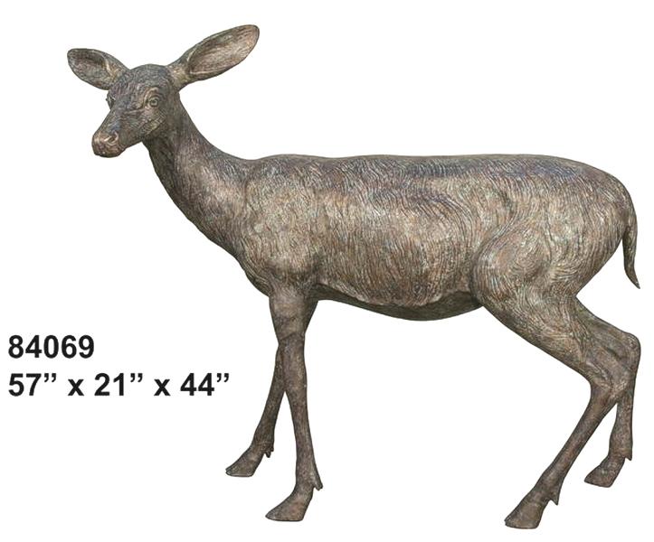 Bronze Doe Deer Statues - AF 84069