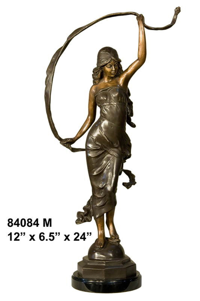 Bronze Lady Ribbon Dancer Statue - AF 84084M