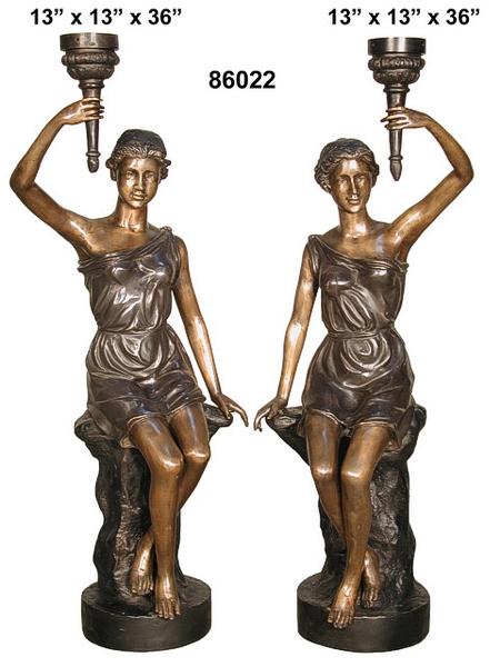 Bronze Ladies Torchiere Lamps - AF 86022