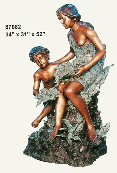 Bronze Mother & Son Fountain - AF 87082