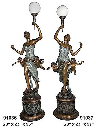 Bronze Ladies Torchiere Lamps - AF 91036/37