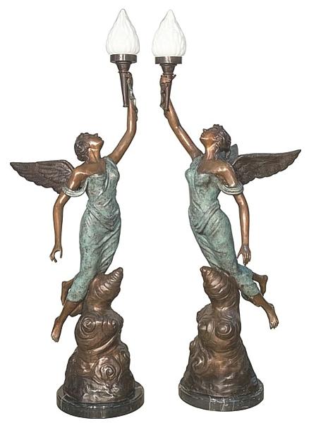 Bronze Angels Torchiere Lamps - AF 91112