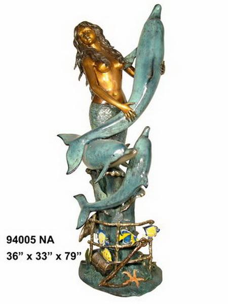 Bronze Mermaid Fountains | Bronze Mermaid Statues - AF 94005NA