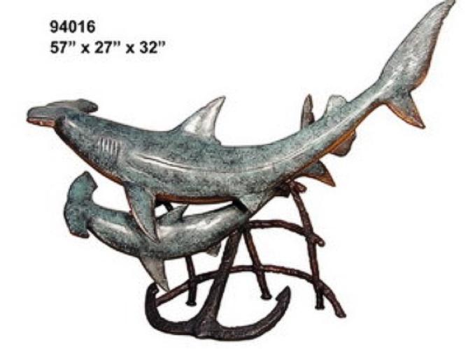 Bronze Hammerhead Sharks Statue - AF 94016