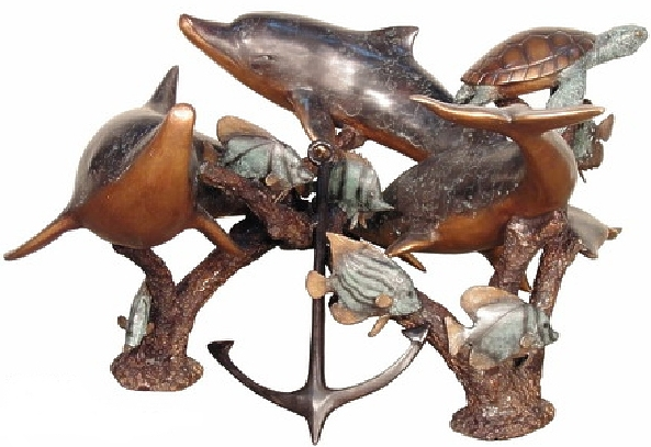Bronze Dolphin & Turtle Table - AF 94018
