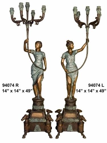 Bronze Ladies Candelabra or Torchiere Light - AF 94074