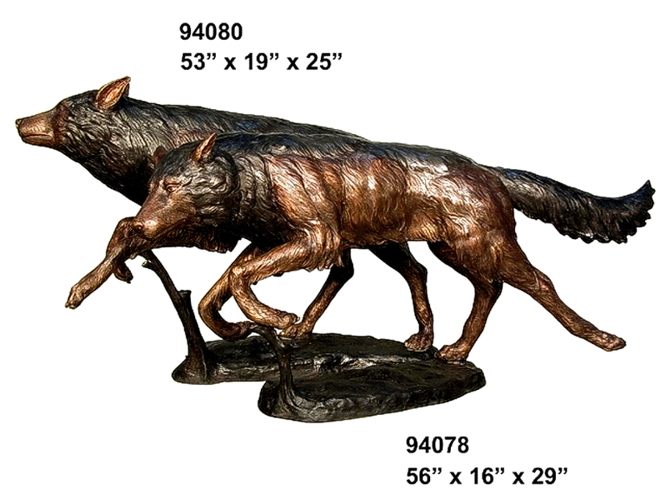 Bronze Wolf Statues - AF 94078-80