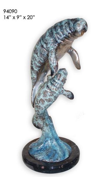 Bronze Manatee & Calf Statue - AF 94090